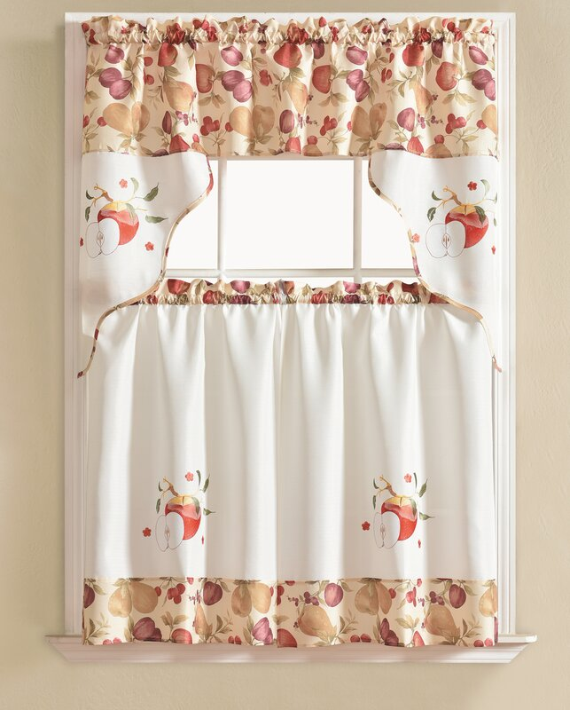 Apple 3 Pc Kitchen Curtain Set