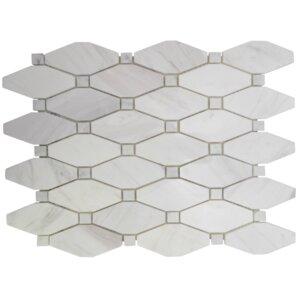 betwixt hexagon basketweave stone mosaic tile in calacatta