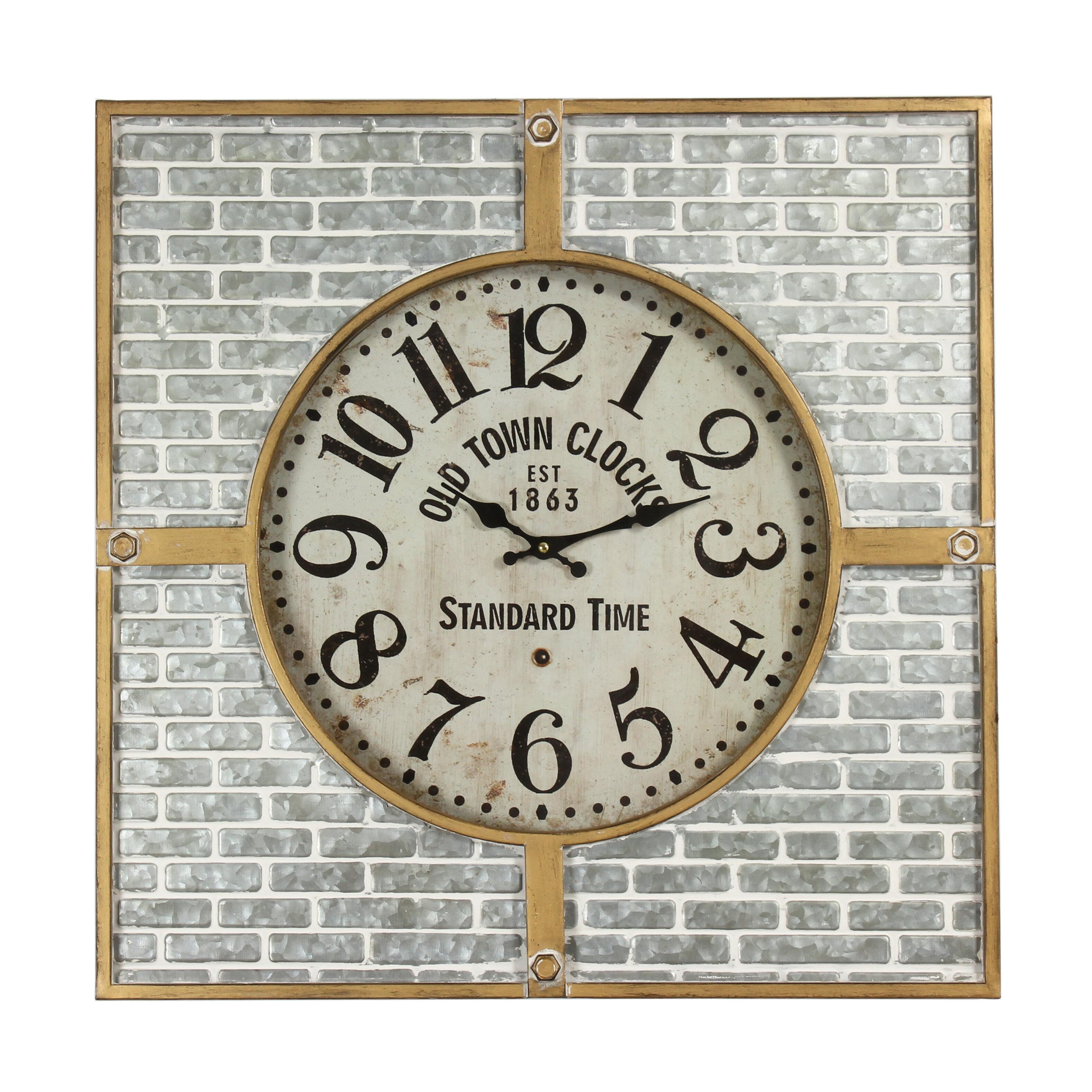 Williston Forge Oversized Metal Brick 24 Wall Clock Wayfair