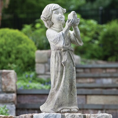 Alfresco Home Child Holding Bird Statue