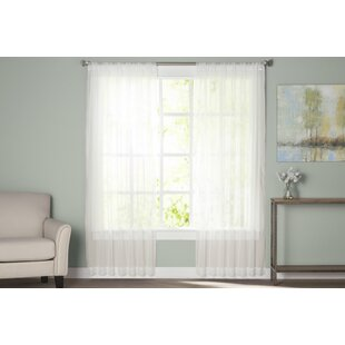 Wayfair Basics Solid Sheer Rod Pocket Curtain Panels (Set of 2) by Wayfair Basics™