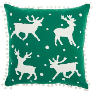 Leboeuf Reindeer Cotton Throw Pillow