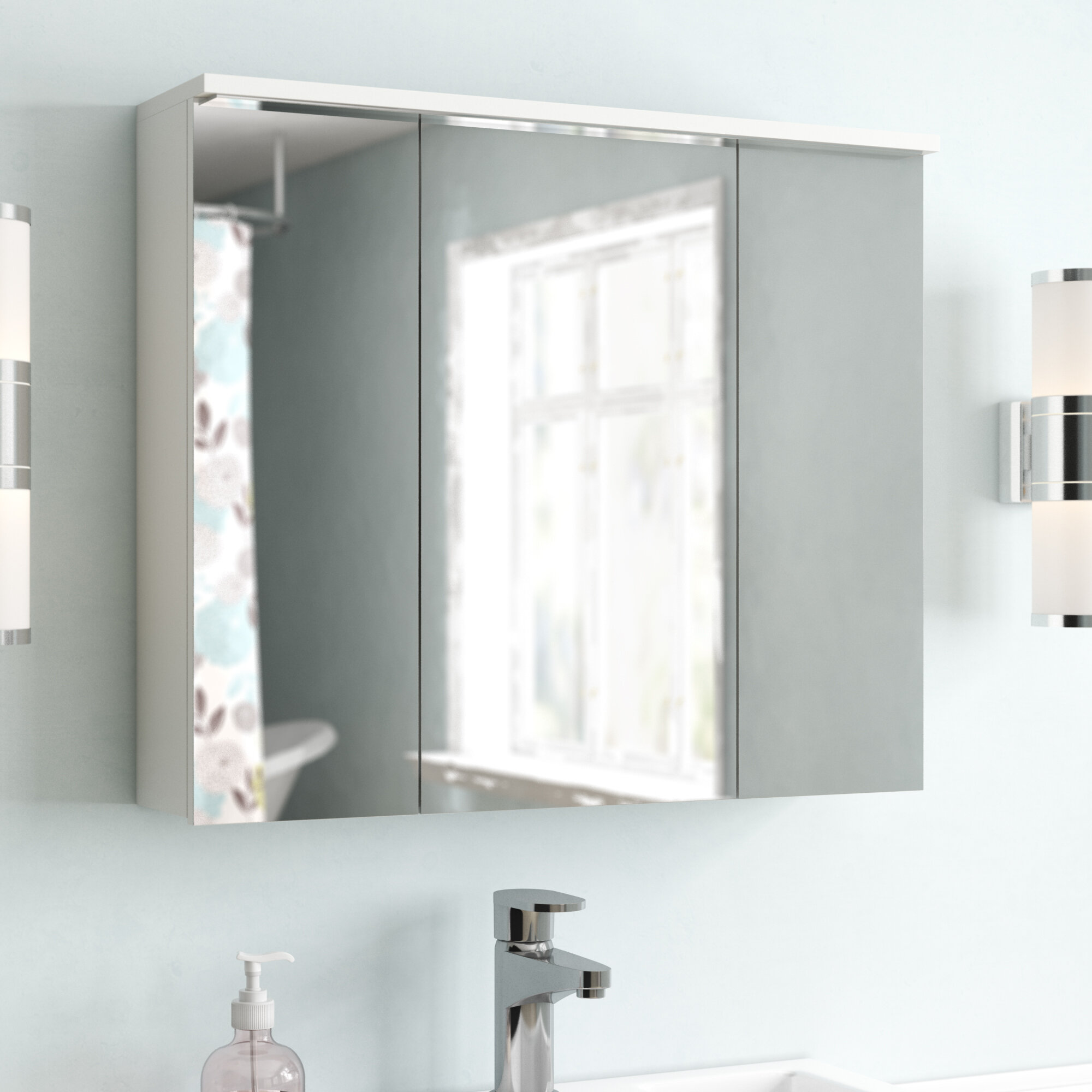 Galaxy 80 Cm X 68cm Surface Mount Mirror Cabinet With Lighting