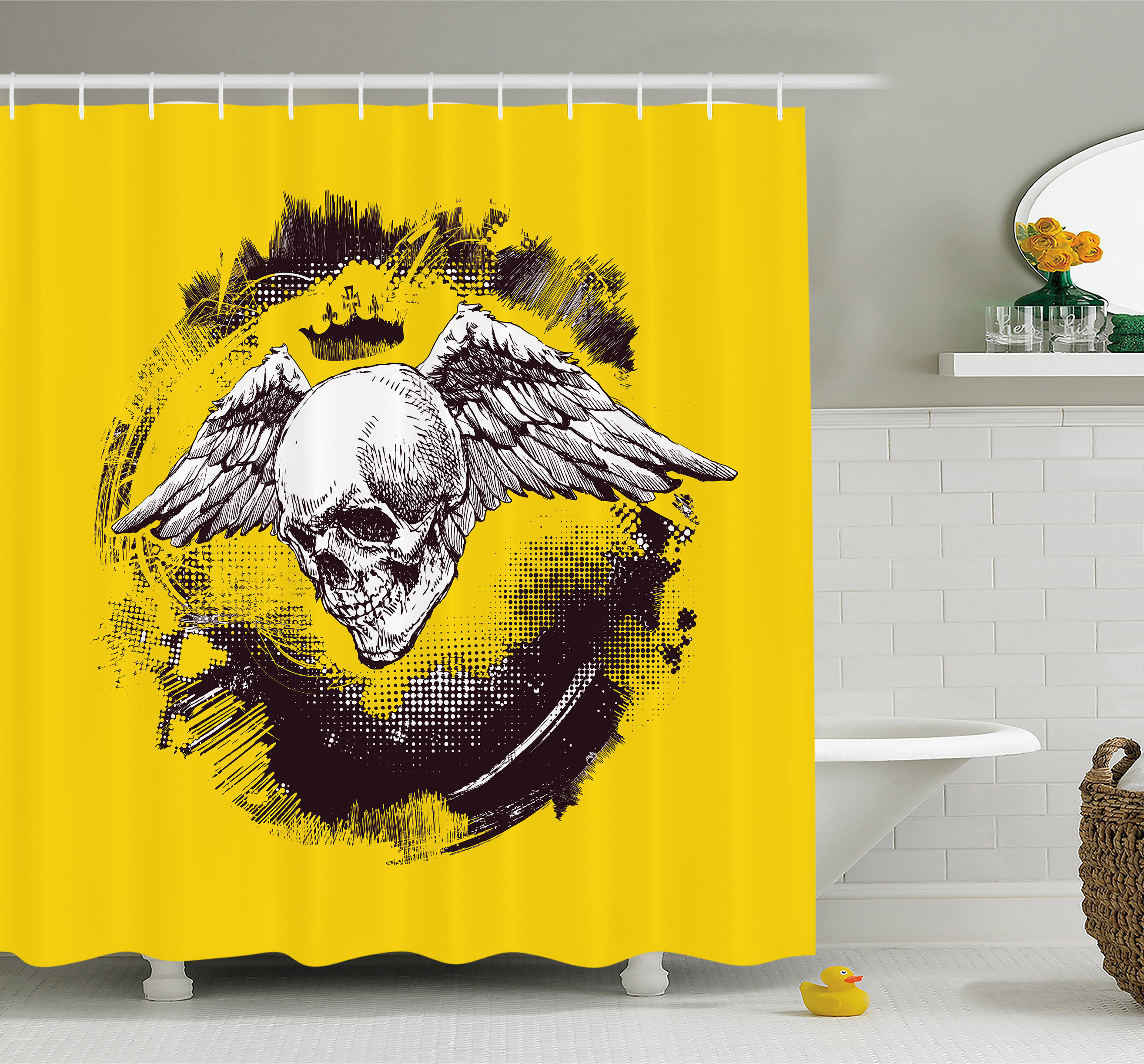 Ambesonne Tattoo The Death Angel Crowned Skull With Wide Magnificent Feather Wings Shower Curtain Set