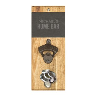 701195678 Personalized Slate Acacia Wall Mount Bottle Opener with Magnetic Cap Catcher