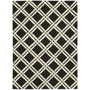 Find the perfect Hulings Hand-Knotted Wool Black/White Area Rug By Alcott Hill