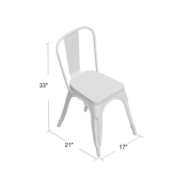 Coastal Farmhouse Collins Slat Back Stacking Side Chair In Gunmetal Gray Brown Reviews Wayfair