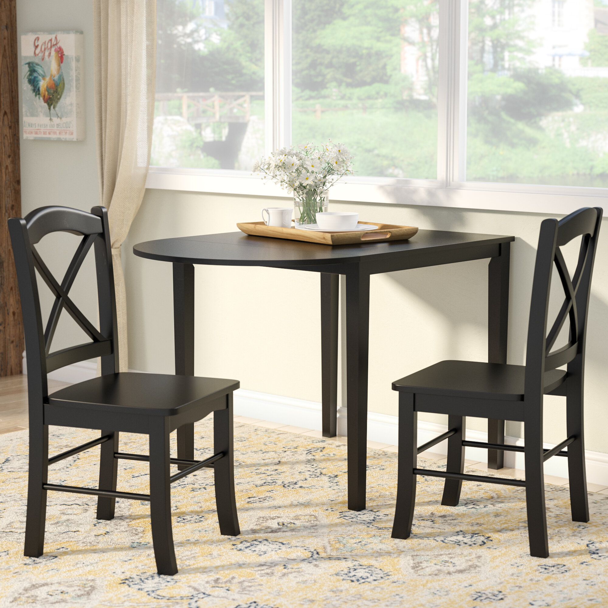 White Natural 3 pc Dining Table Set Chairs Kitchen Bistro Breakfast Dinette Pub