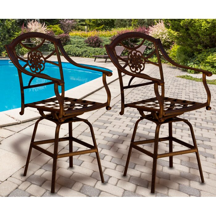 Enjoyable Cris Cast Aluminum Outdoor 29 1 Patio Bar Stool Andrewgaddart Wooden Chair Designs For Living Room Andrewgaddartcom