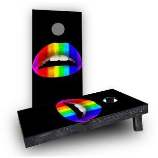Custom Cornhole Boards Gay Pride Rainbow Lips Cornhole Boards (Set of 2)