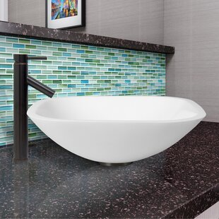 Inexpensive Phoenix Glass Square Vessel Bathroom Sink with Faucet By VIGO