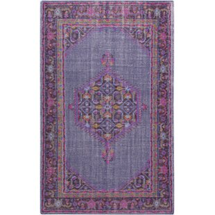 Price comparison Fender Classic Iris Hand-Knotted Wool Dark Purple/Fuschia Area Rug By Bloomsbury Market