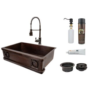 33 L x 22 W Farmhouse Kitchen Sink with Faucet and Drain Assembly By Premier Copper Products