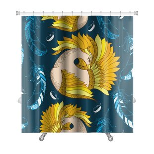 Birds Mythological Firebird and Decorative Feathers Premium Single Shower Curtain