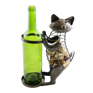 Machelle Metal Cat Cork 1 Bottle Tabletop..