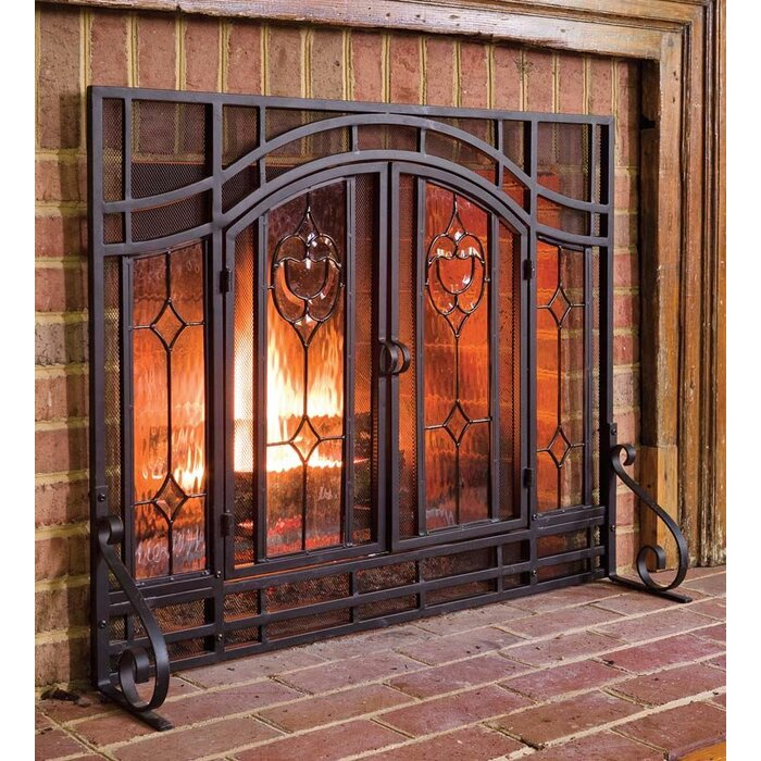 Pleasant Single Panel Steel Fireplace Screen Download Free Architecture Designs Grimeyleaguecom