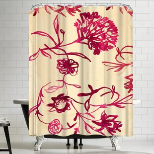 Paula Mills Pink Ink Floral Single Shower Curtain