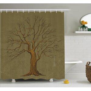 tree old paper effect vintage shower curtain set