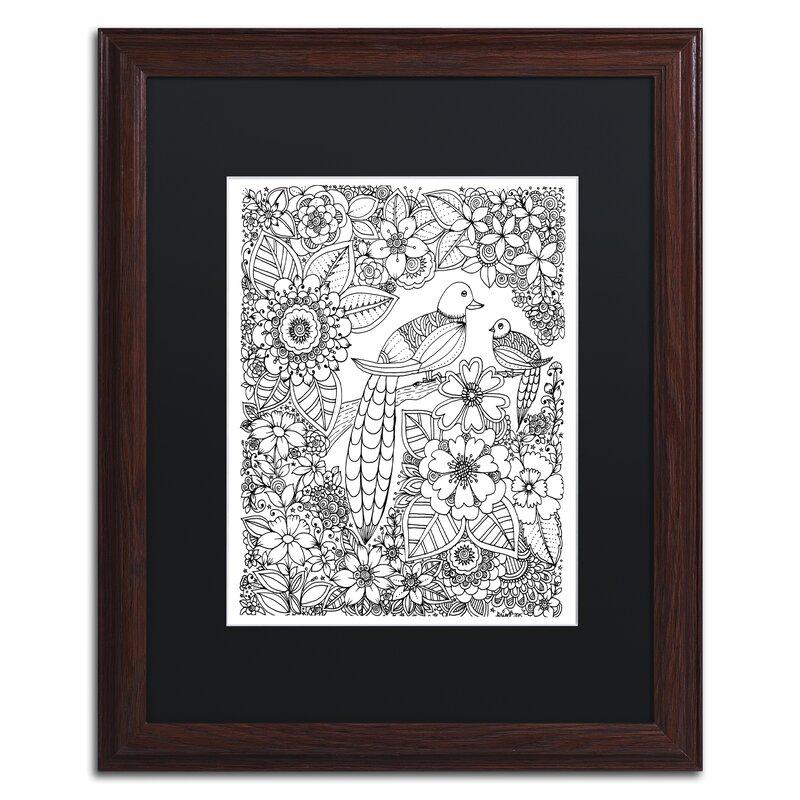 Trademark Art Birds Framed Graphic Art On Canvas Wayfair