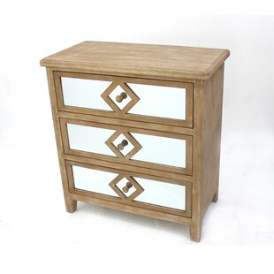 Crescentia Wooden 3 Drawer Accent Chest by Bungalow Rose