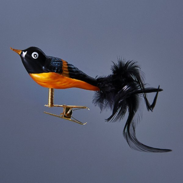 The Holiday Aisle Black And Orange Song Bird With Clip Attachment Hanging Figurine Ornament Wayfair