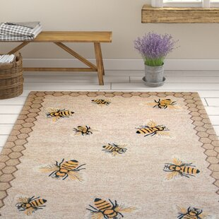 Calderon Honeycomb Bee Hand-Tufted Natural Indoor/Outdoor Area Rug