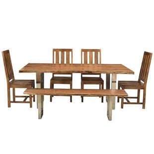 Jozereau Live Edge 6 Piece Solid Wood Dining Set Union Rustic