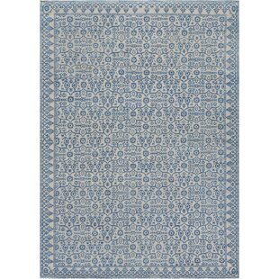 One-of-a-Kind Agra Handwoven Wool Ivory/Blue Indoor Area Rug ByMansour