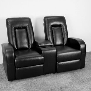 Latitude Run Leather Home Theater Sofa