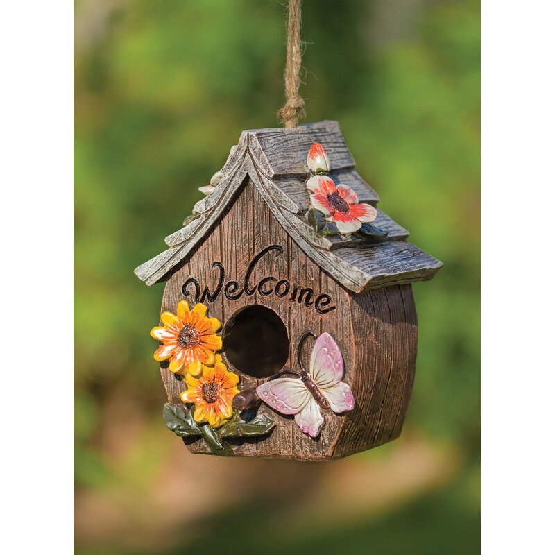 August Grove Sevag Butterfly And Flowers Welcome 6 In X 7 In X 4 5 In Birdhouse Wayfair