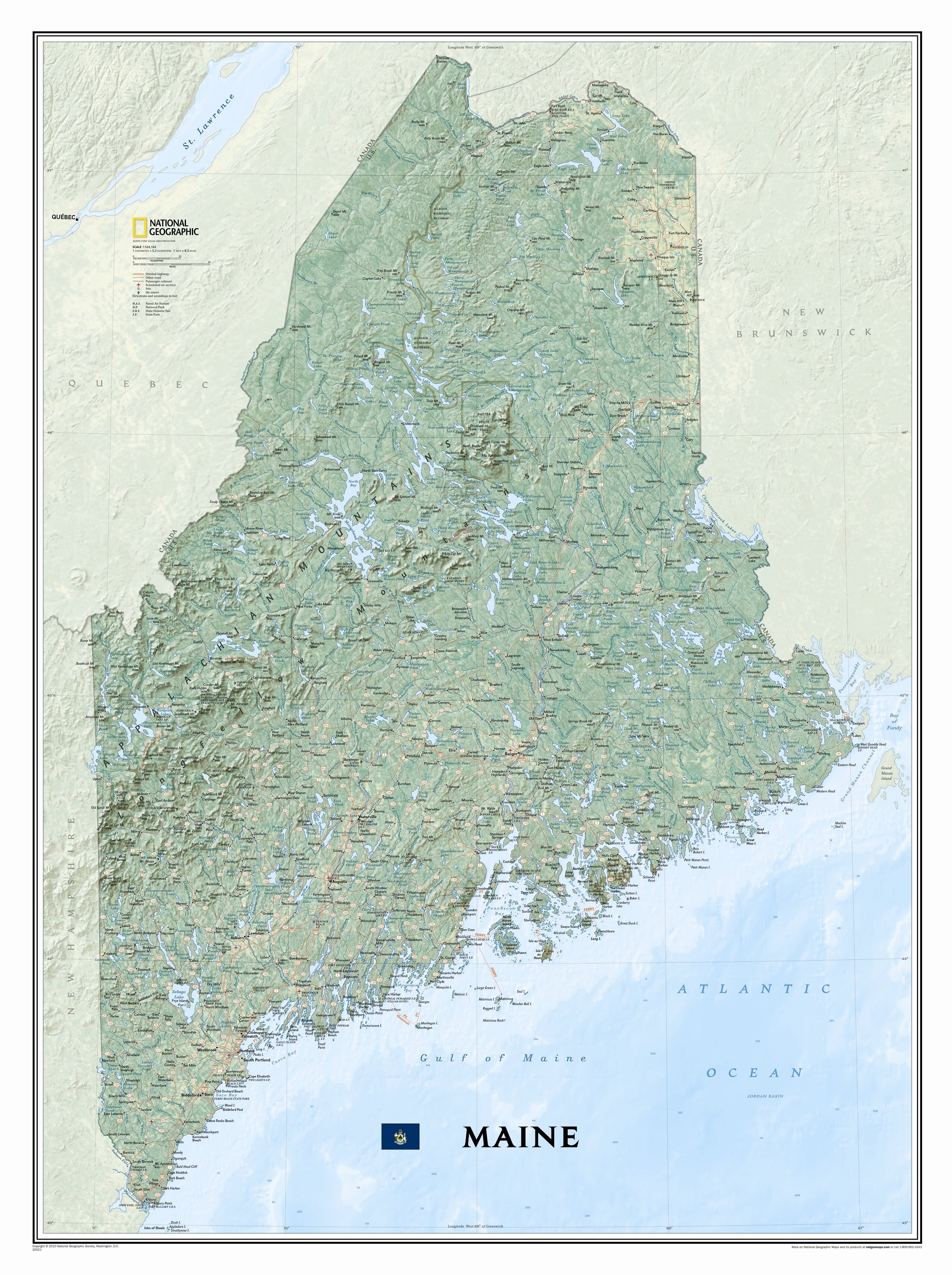 State Map Of Maine.National Geographic Maps Maine State Wall Map Reviews Wayfair
