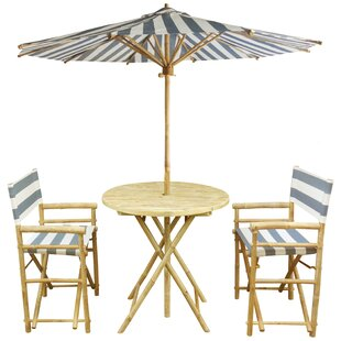 Sinta Bamboo 3 Piece Bistro Set with Umbrella