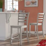 Rutledge Ladderback Solid Wood 24 Counter Stool (Set of 2) by Rosecliff Heights