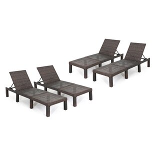Douglass Circle Reclining Chaise Lounge (Set of 4)