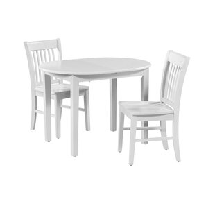Shorewood 3 Piece Drop Leaf Solid Wood Oval Dining Set August Grove