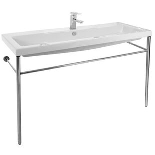 Cangas Ceramic 48 Console Bathroom Sink with Overflow By Ceramica Tecla by Nameeks