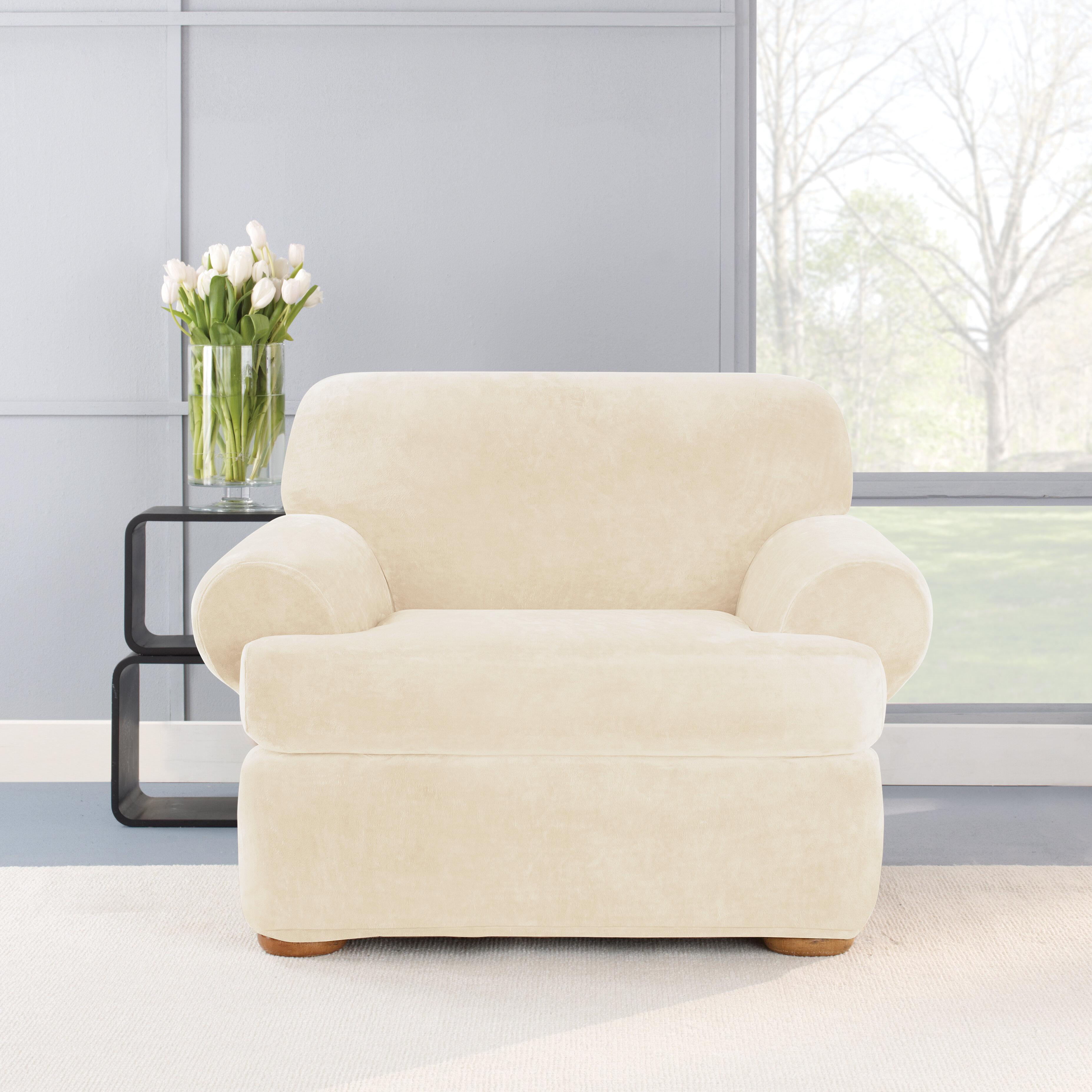 Stretch Plush 2 Piece T Cushion Chair Slipcover Set