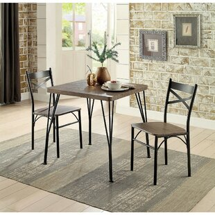 Marquez Transitional 3 Piece Solid Wood Dining Set