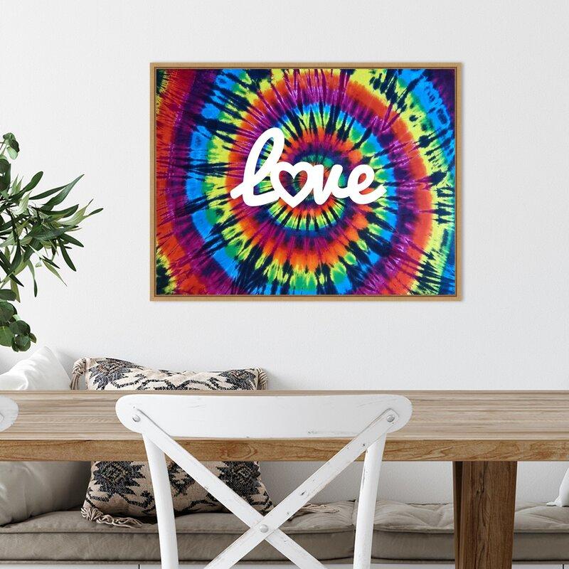 Tie Dye Rainbow Love II by Molly Kearns - Floater Frame Graphic Art on Canvas