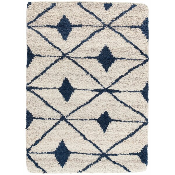 Dash And Albert Rugs Kenitra Geometric Hand Knotted Shag Ivory Navy Area Rug Perigold