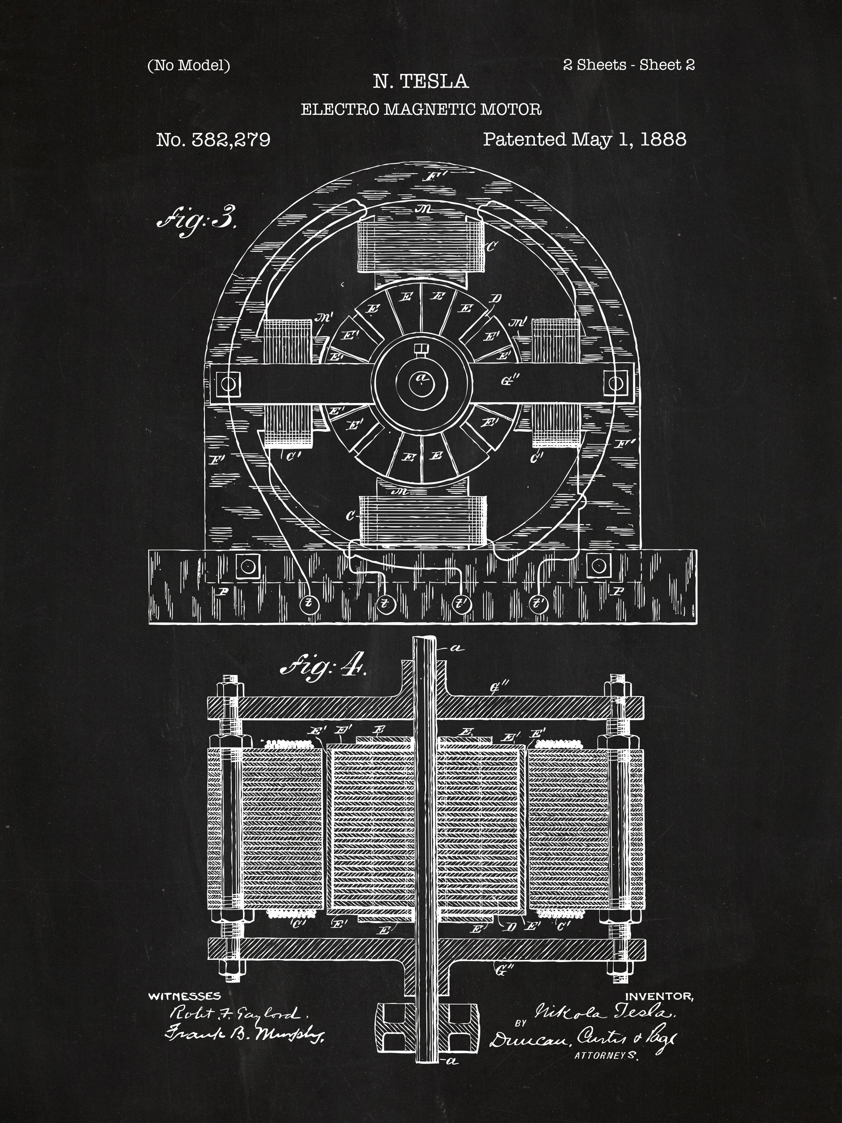 Inked and screened tesla electro magnetic motor blueprint graphic inked and screened tesla electro magnetic motor blueprint graphic art wayfair malvernweather Images