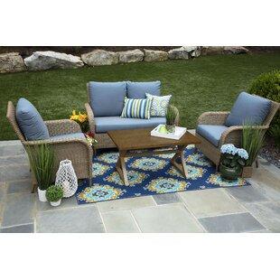 Bogdanovic 4 Piece Sunbrella Sofa Set with Cushions (Set of 4) by One Allium Way