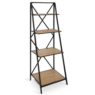 Ironton Farmhouse 4 Tiered Foldable Free-Standing Wood and Metal Etagere Bookcase