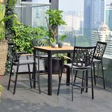 Portals Outdoor Patio 5 Piece Teak Bar Height Dining Set with Cushions
