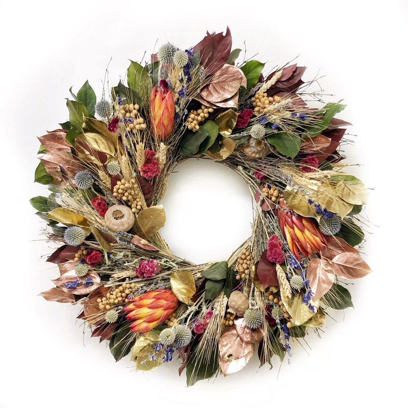 Preserved Autumn Elegance Salal Greenery Wreath