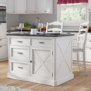 Moravia 3 Piece Kitchen Island Set with Engineered Quartz Top Laurel Foundry Modern Farmhouse