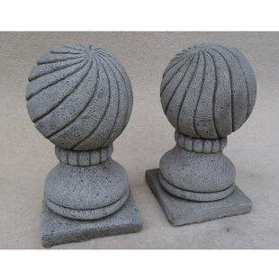 Livingston 2 Piece Ball Pillar Cap Stone Garden Statue Set (Set Of 2) By Happy Larry