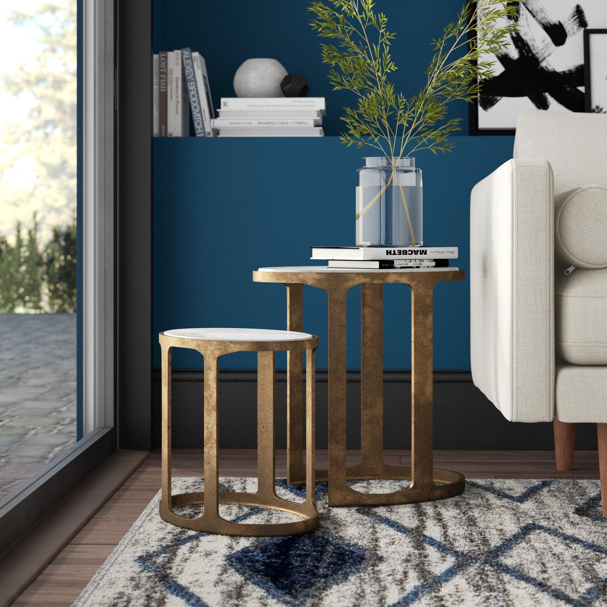 Mercury Row Sherer 2 Piece Marble Top Frame Nesting Tables Wayfair