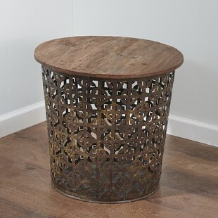 Outdoor/Indoor Drum Lattuce Metal Side Table