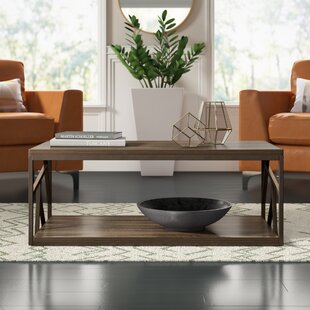 Derwood Metal Distressed Wood Coffee Table with Tray Top by Mercury Row
